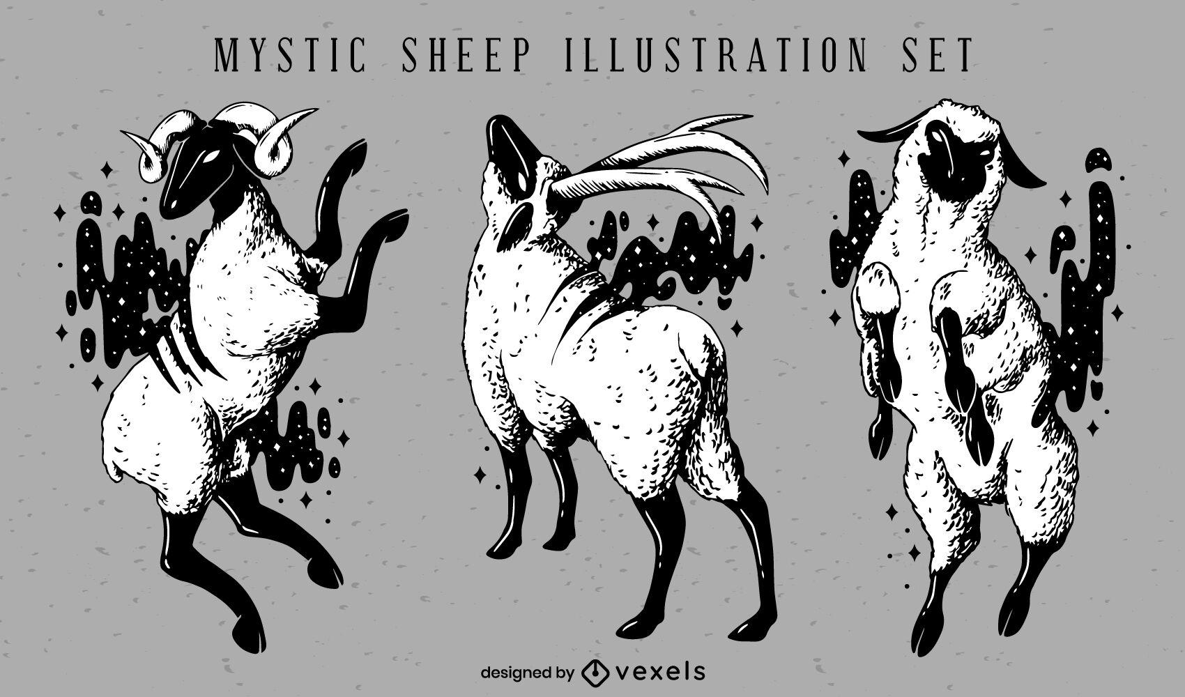 Magical sheeps animal illustration set