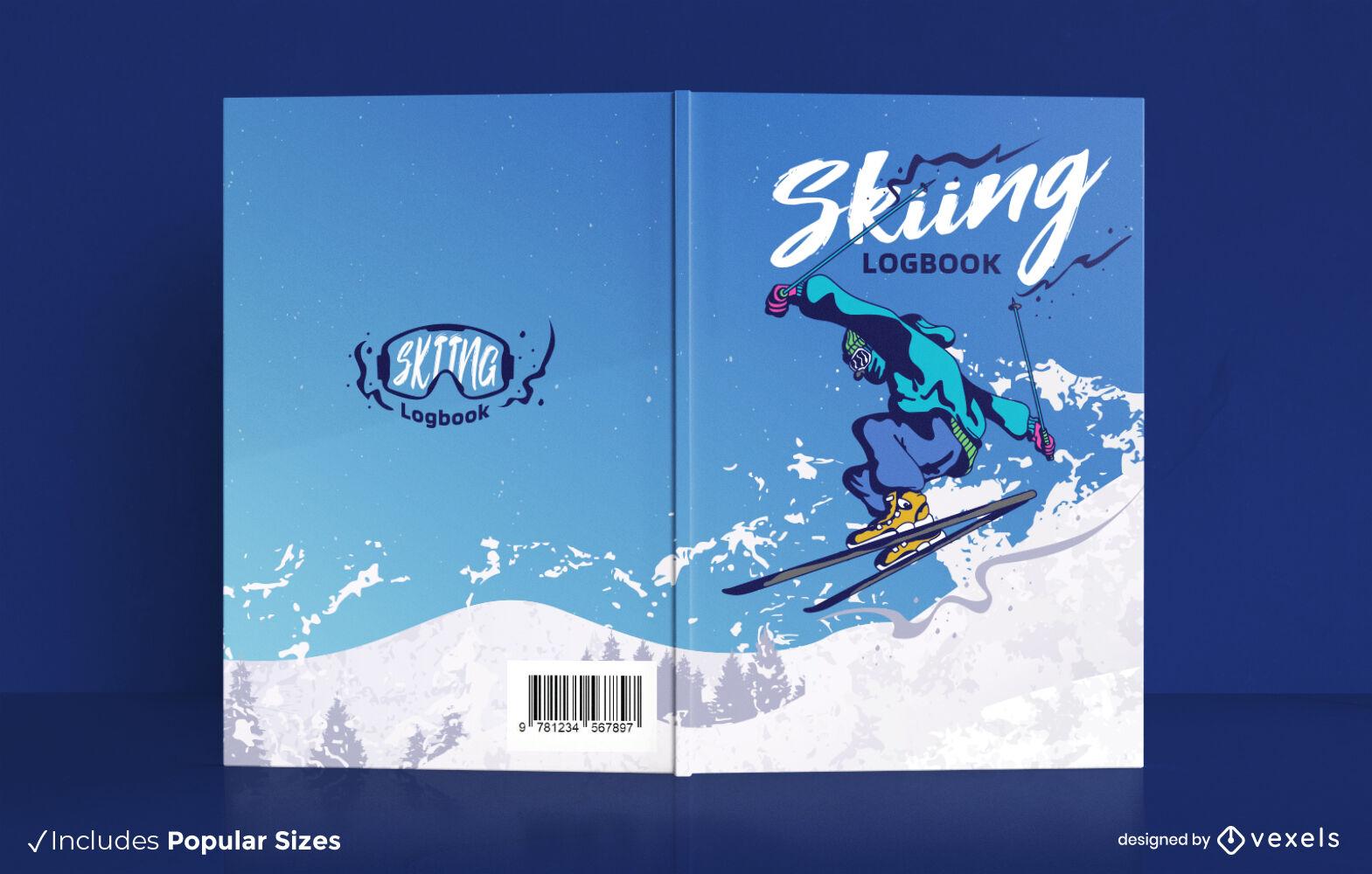 Diseño de portada de libro de deporte de atleta de esquí.