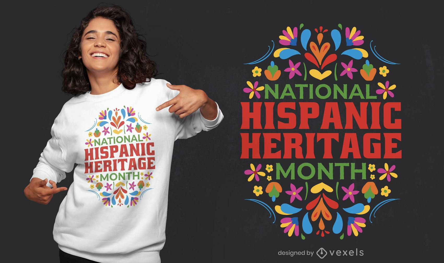 Dise?o de camiseta de herencia hispana floral