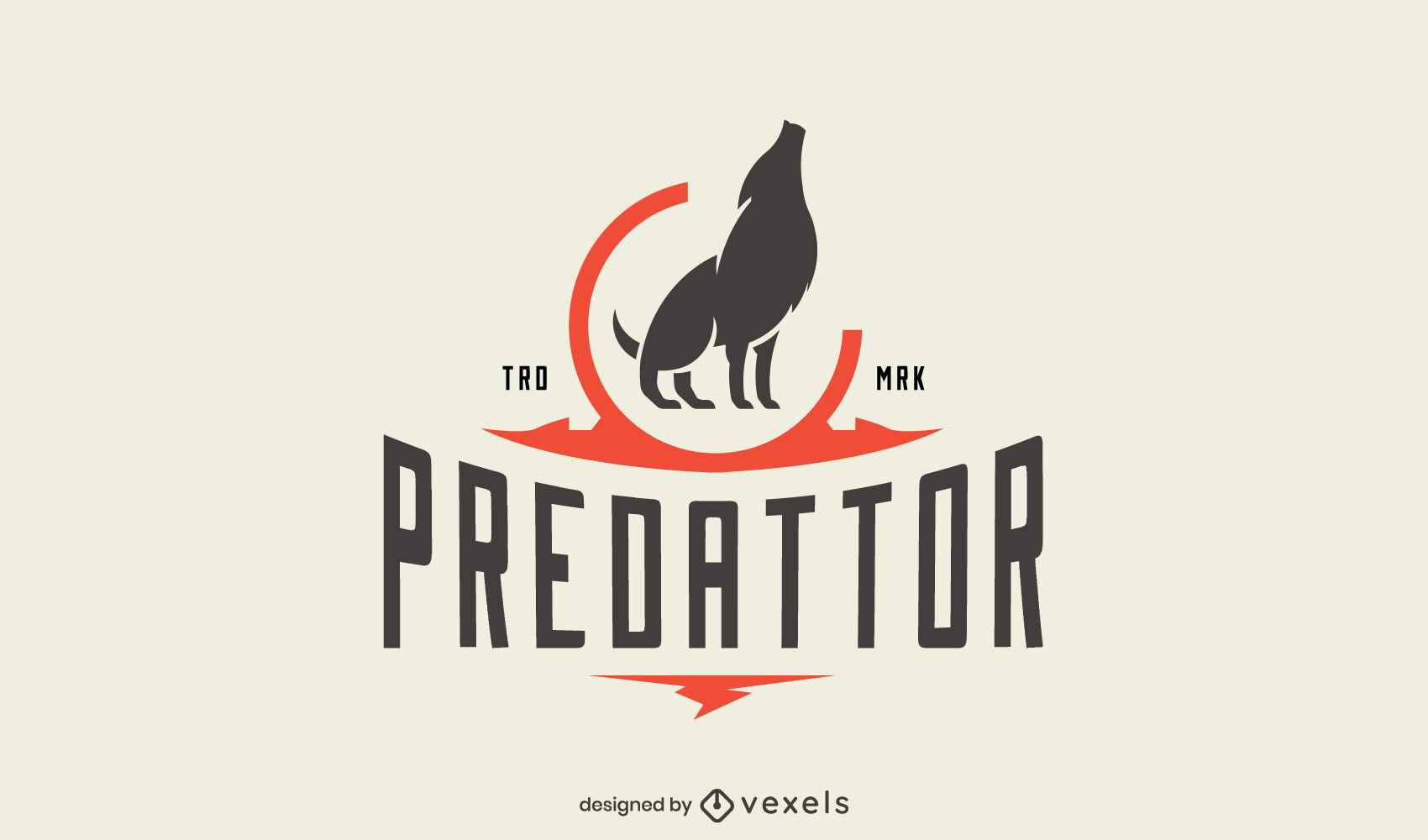 Plantilla de logotipo de empresa de animales salvajes de lobo