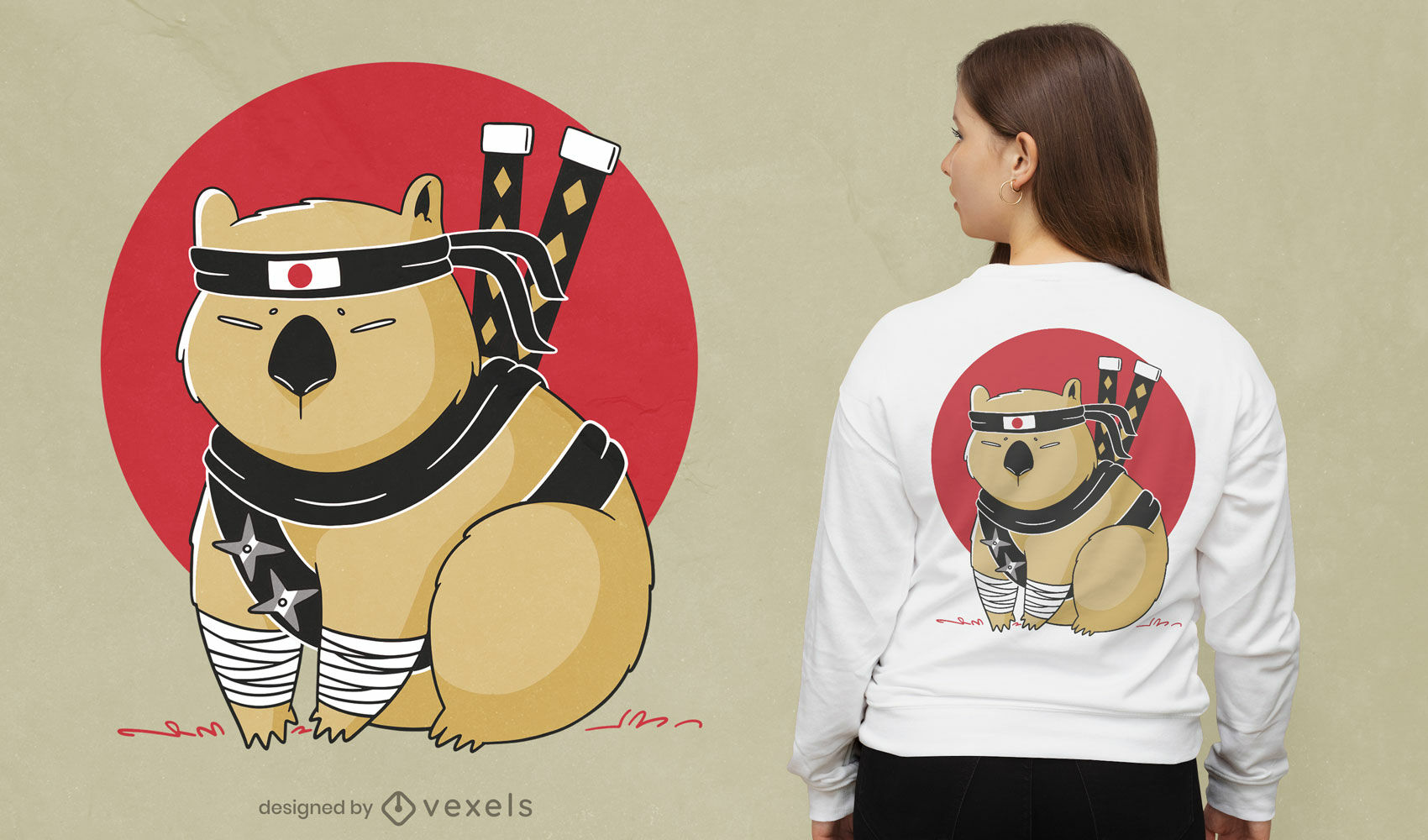 Dise?o de camiseta de dibujos animados ninja wombat
