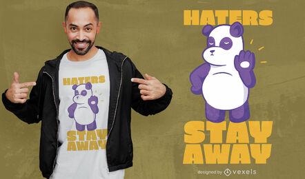 Diseño de camiseta con cita de odiadores de panda