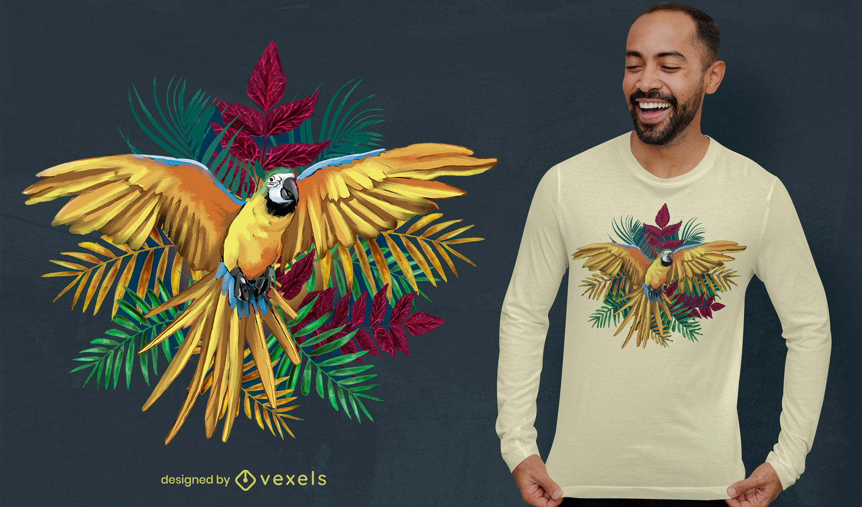 Realistic parrot in jungle psd t-shirt design