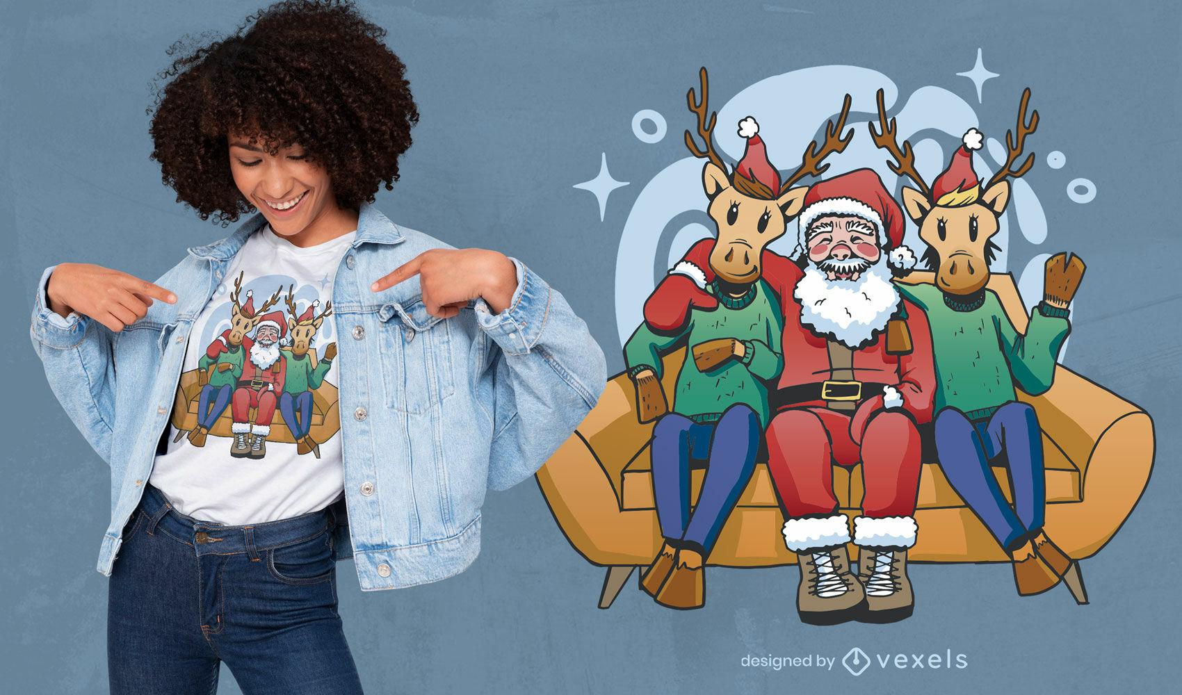 Santa claus and reindeers in sofa t-shirt design