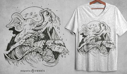 Diseño de camiseta dibujada a mano elefante y ola.