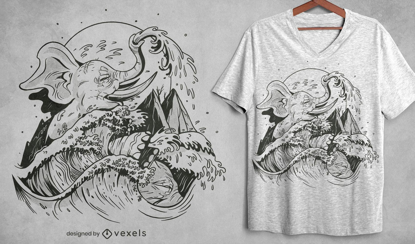 Dise?o de camiseta dibujada a mano elefante y ola.