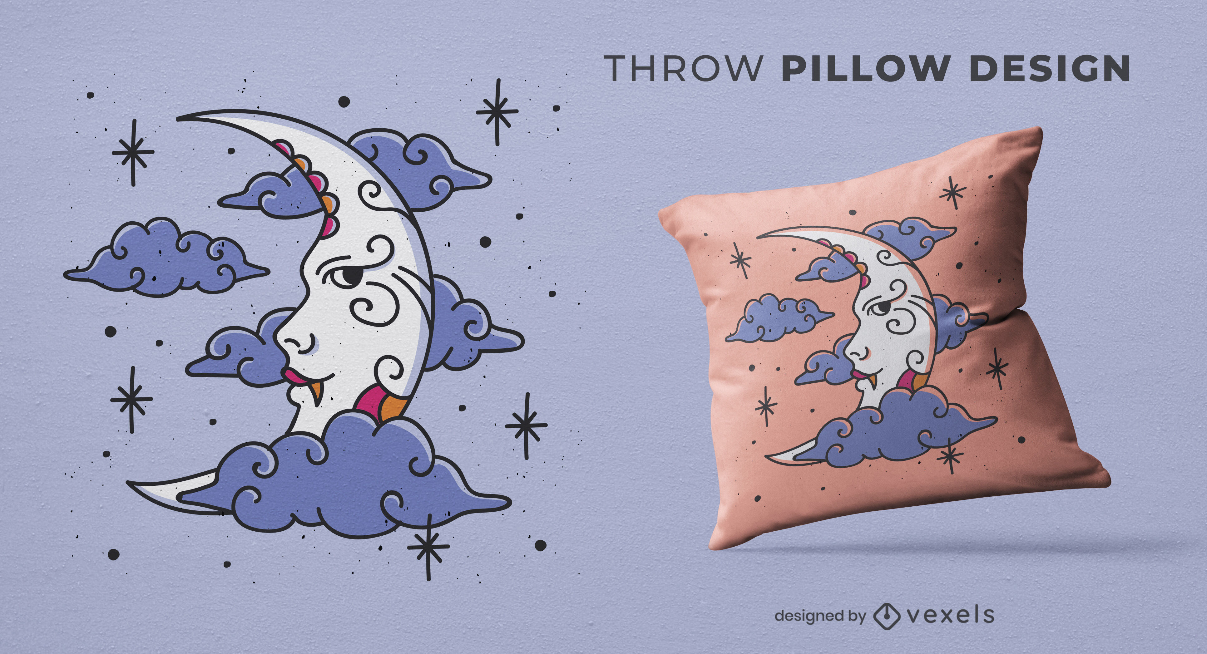 Moon with clouds throw pillow design