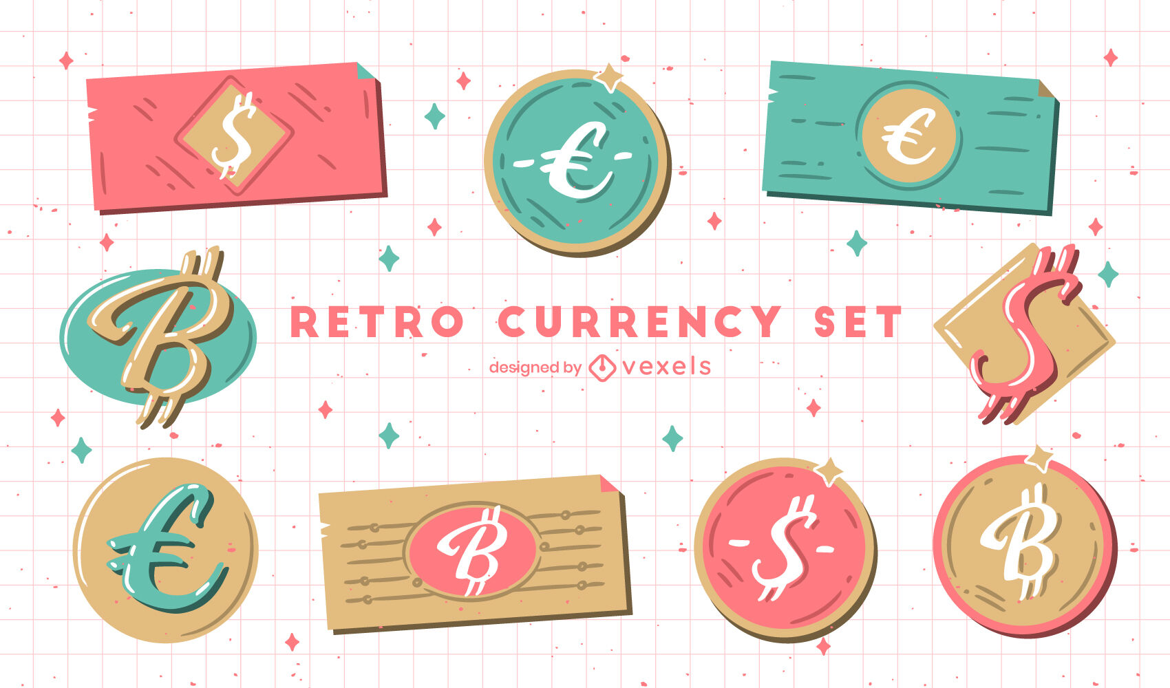 Coins and bills currency retro set