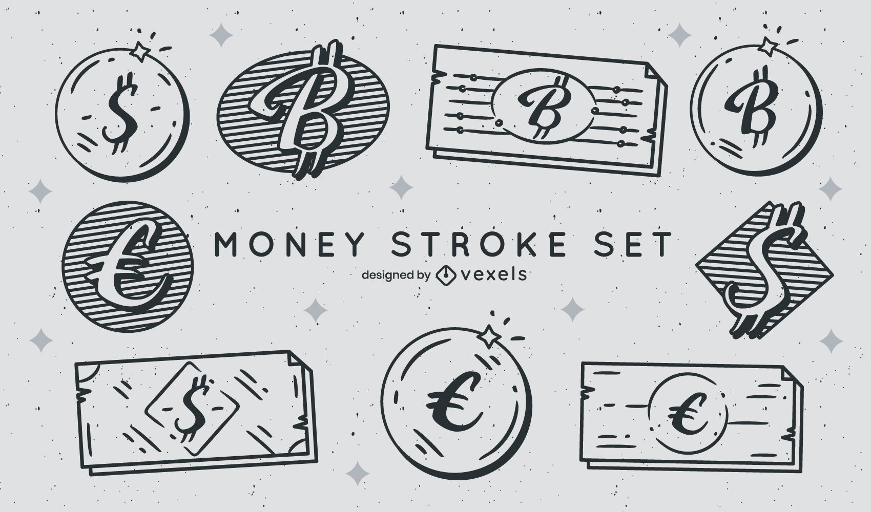 Coins and bills currency stroke set