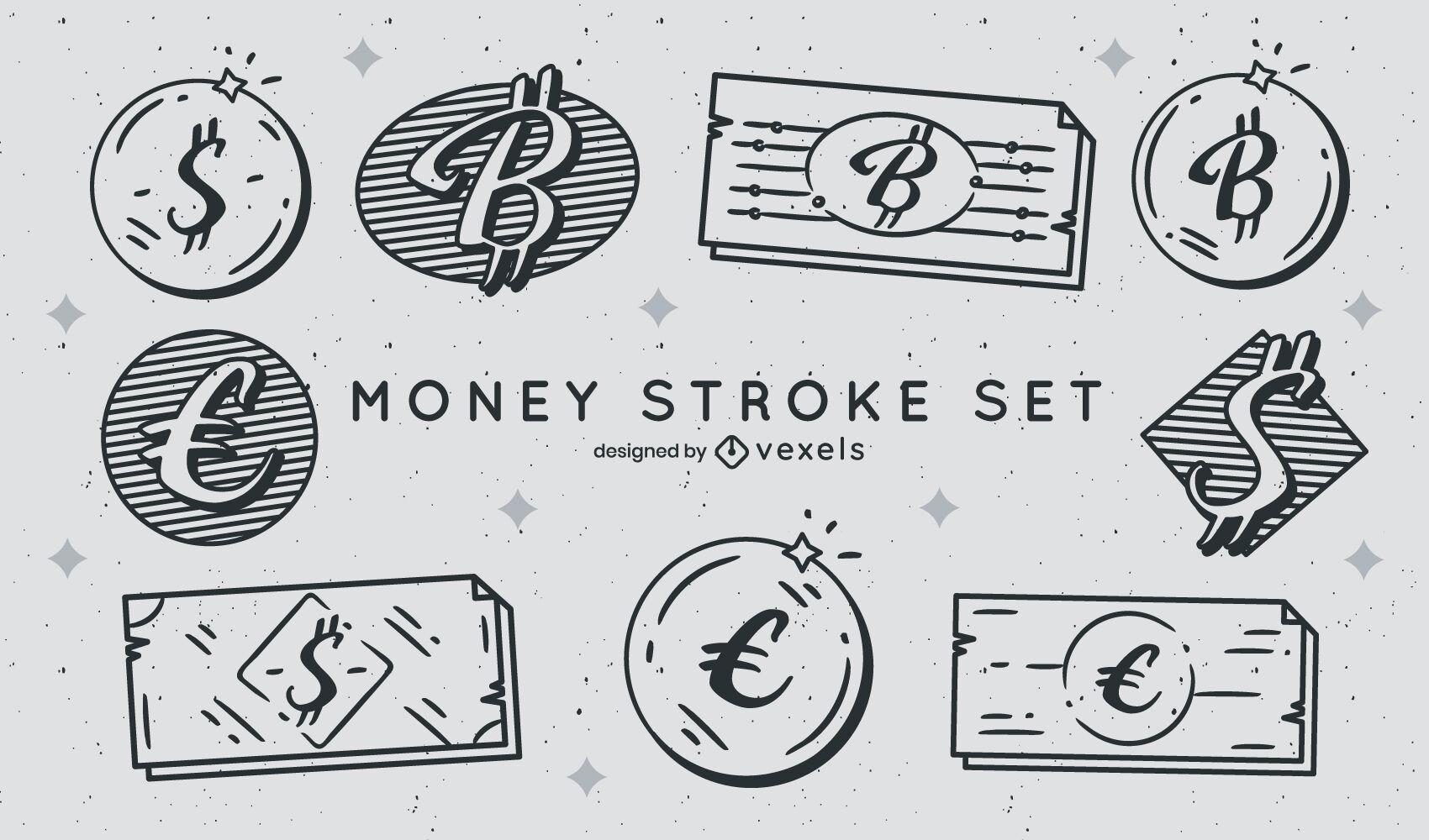 Conjunto de moedas e notas de moedas