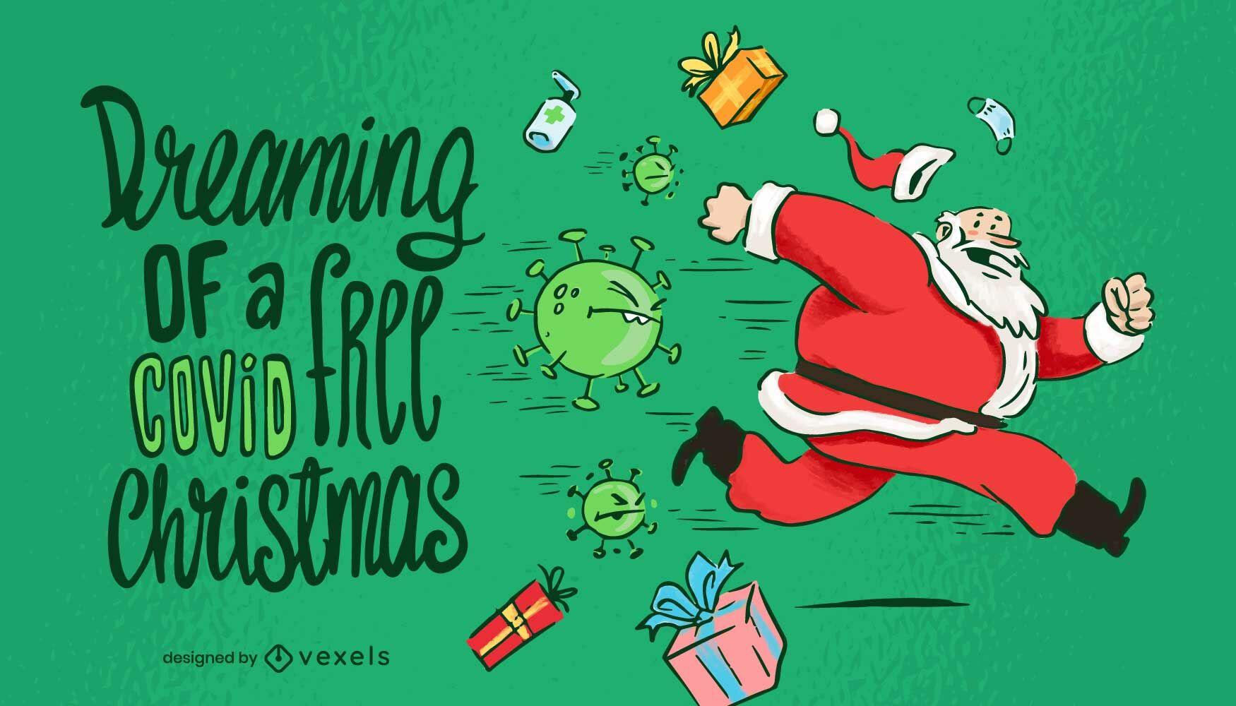 Christmas holiday covid illustration