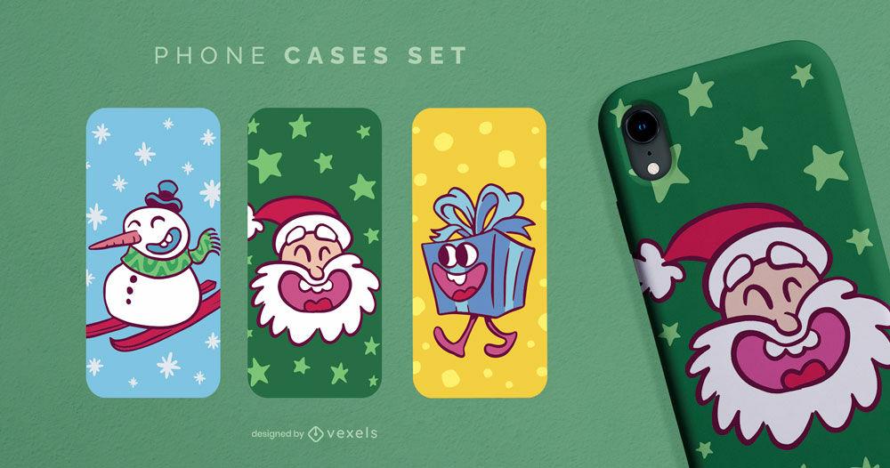 Conjunto de capa de telefone de desenho animado de Natal
