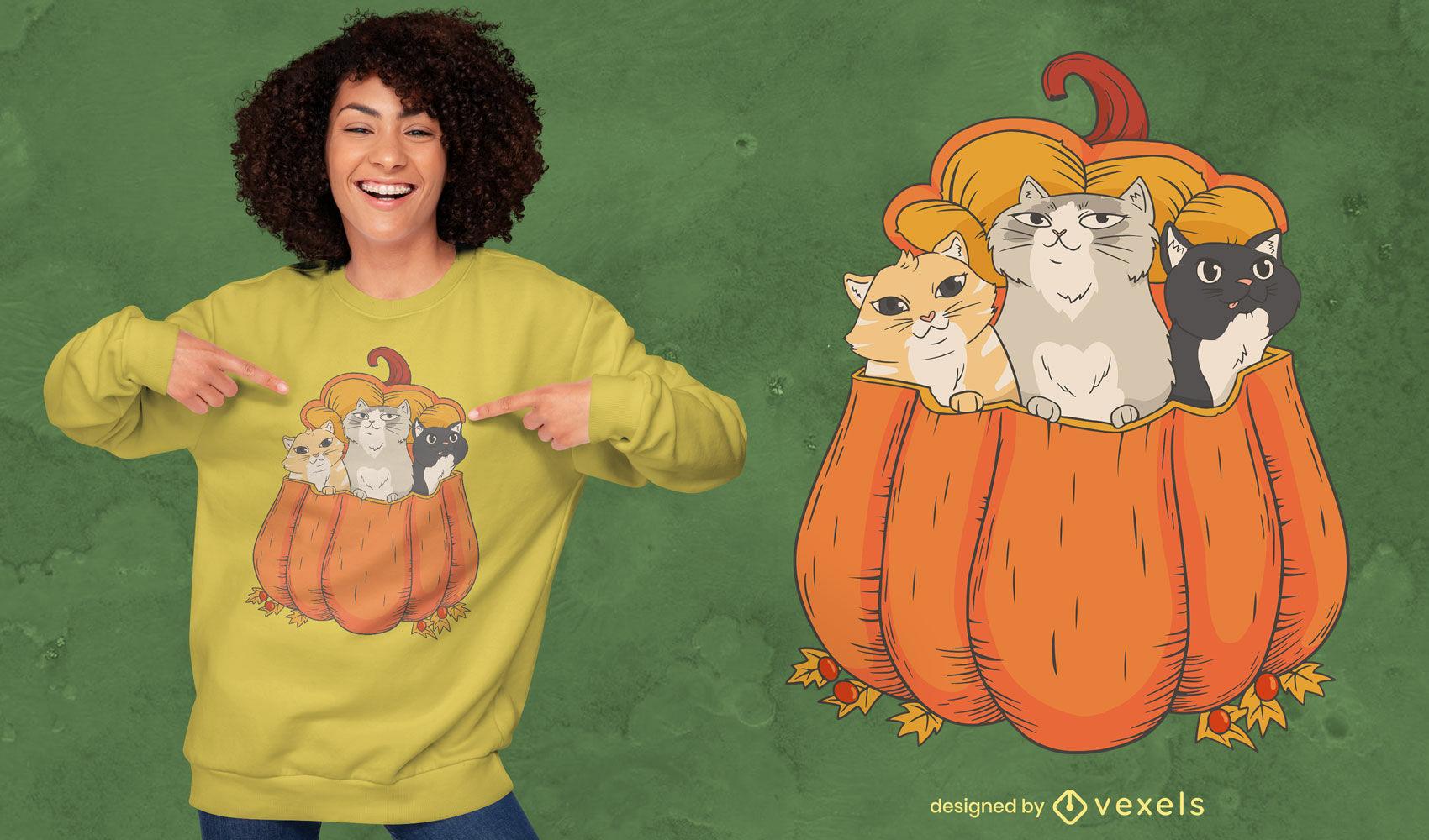 Gatos en dise?o de camiseta de ilustraci?n de calabaza