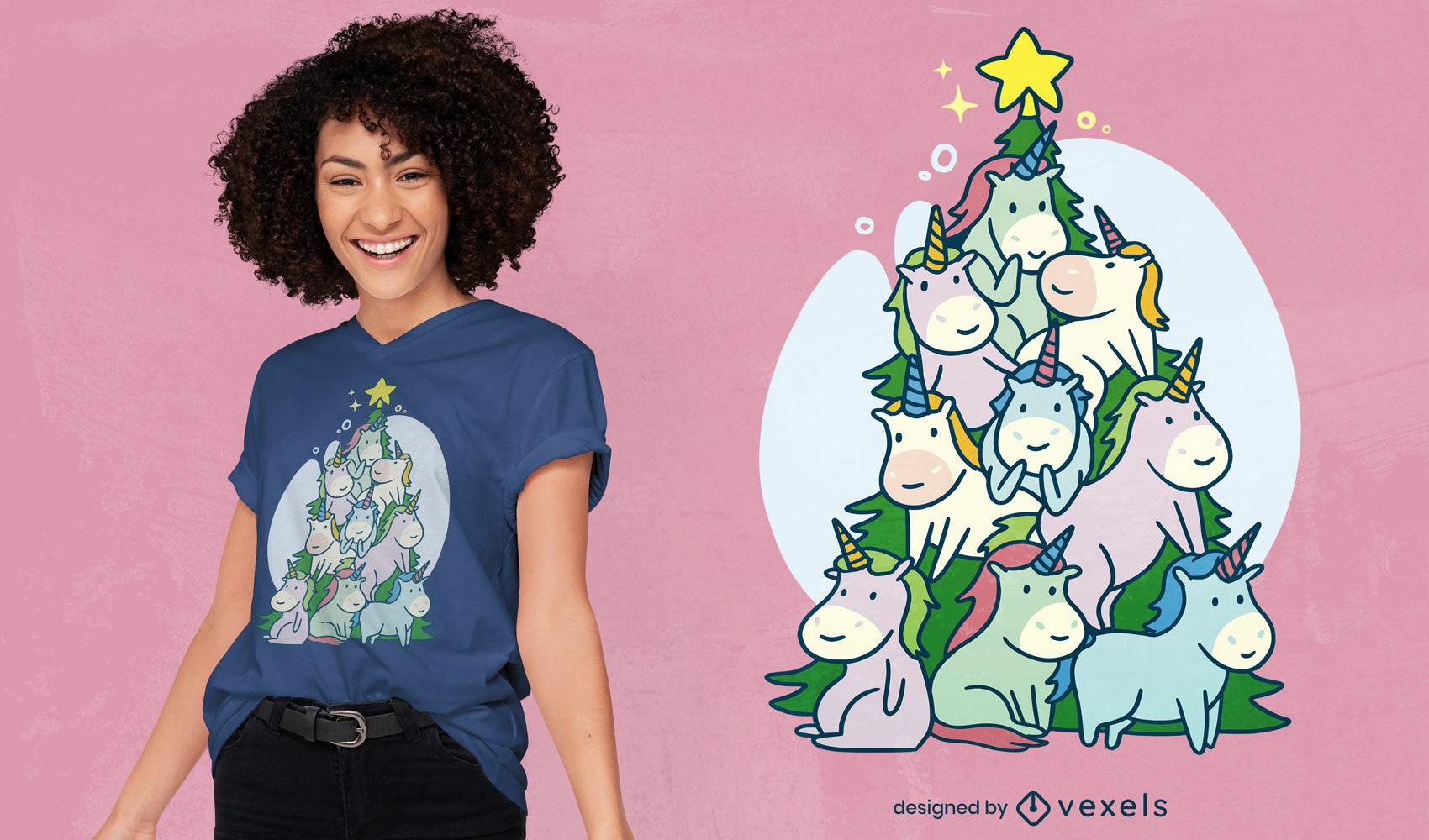 Dise?o de camiseta de ?rbol de navidad de unicornios.