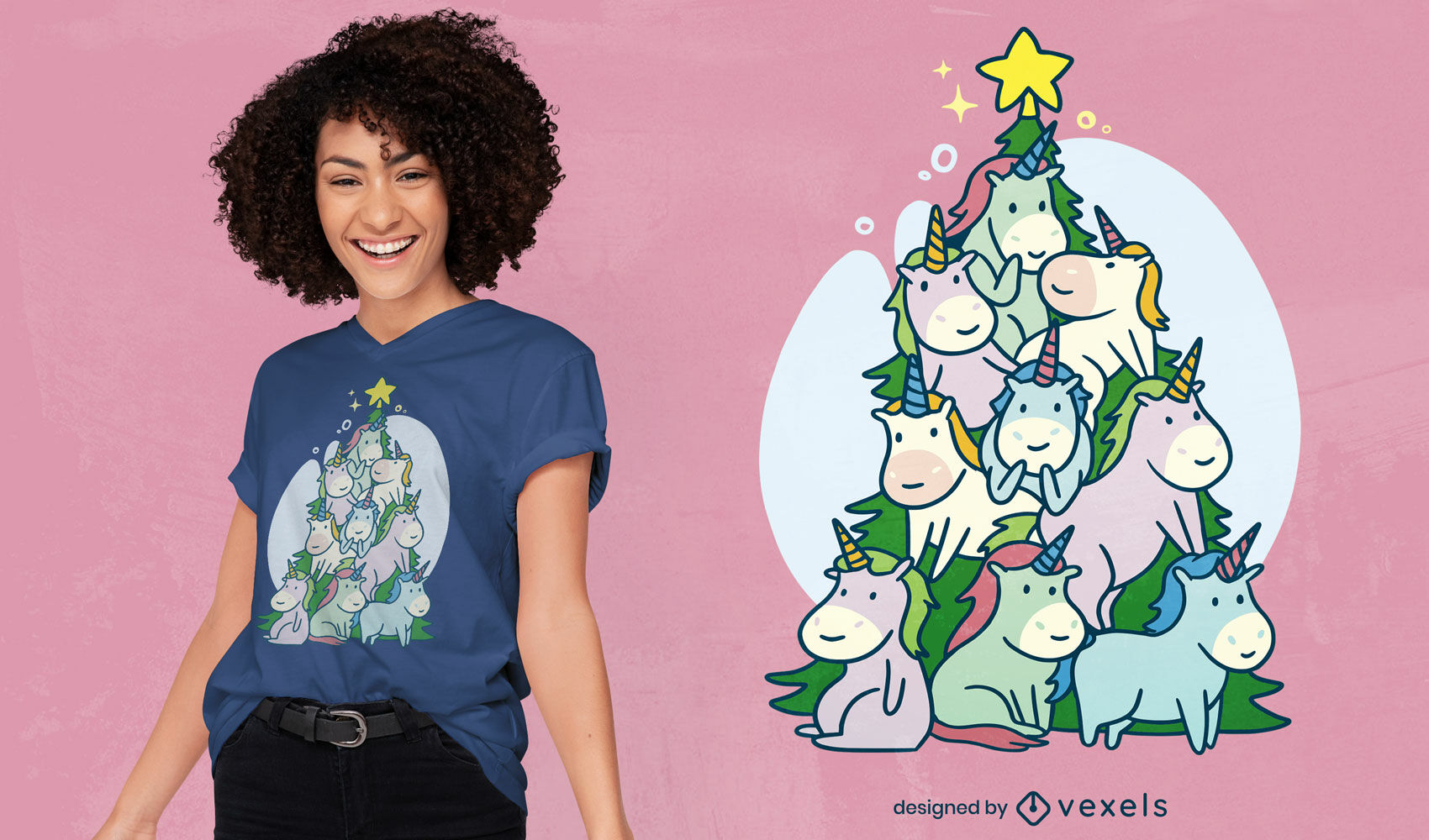 Unicorns christmas tree t-shirt design