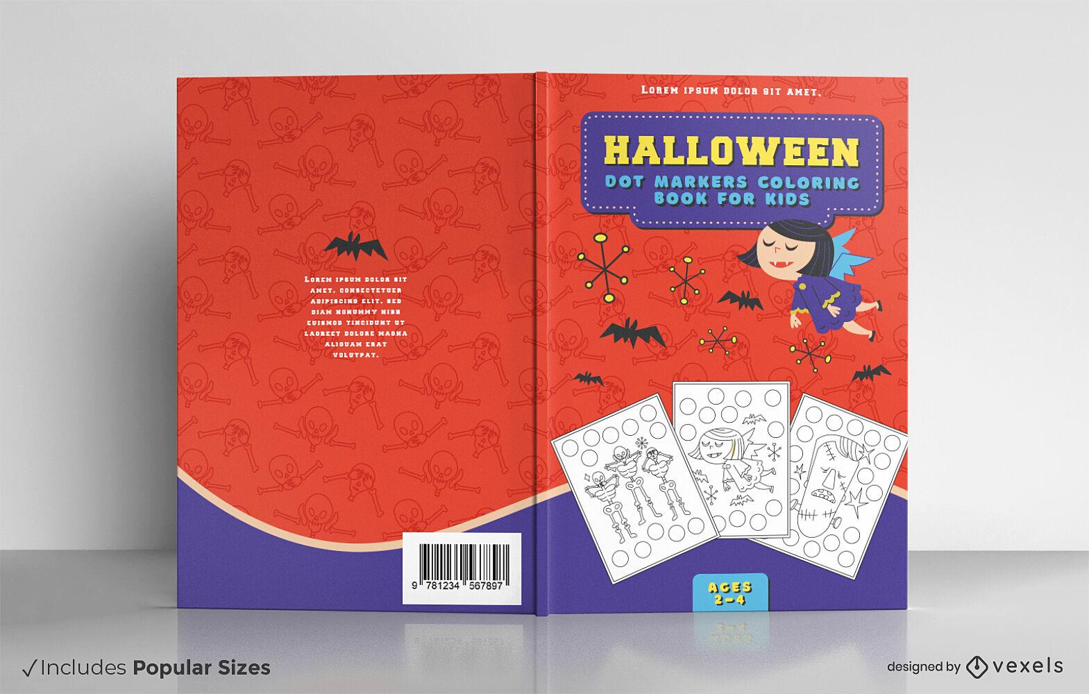 Dise?o de portada de libro de halloween vampiro infantil