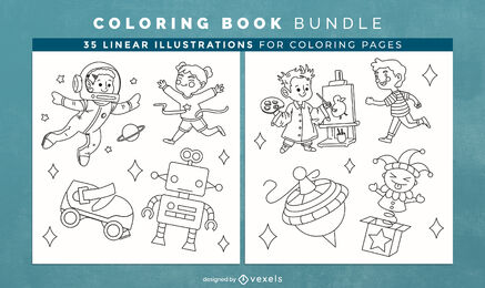 Children toys coloring book design pages