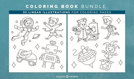 Juguetes para niños páginas de diseño de libro para colorear