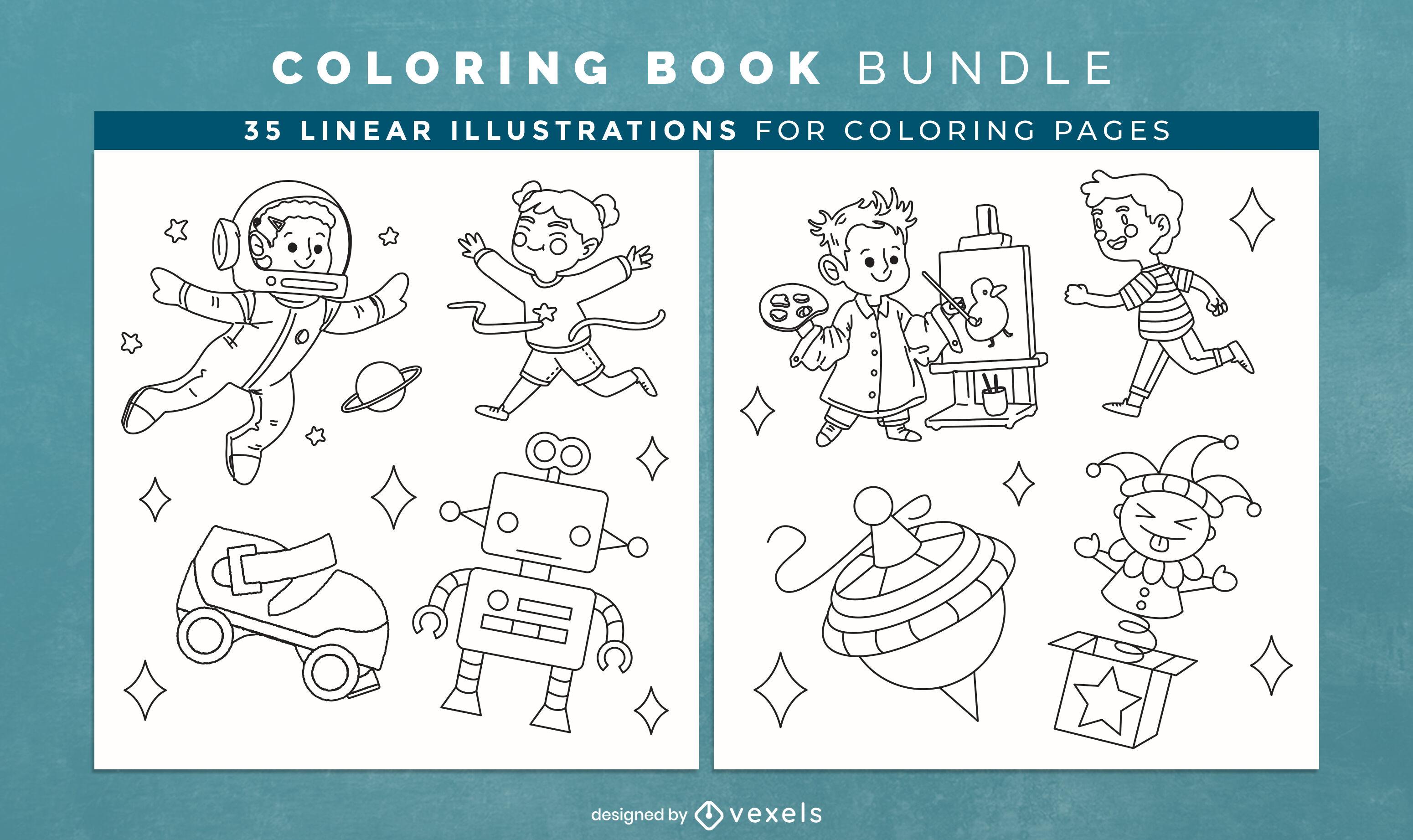 Brinquedos infantis para colorir livro de páginas de design