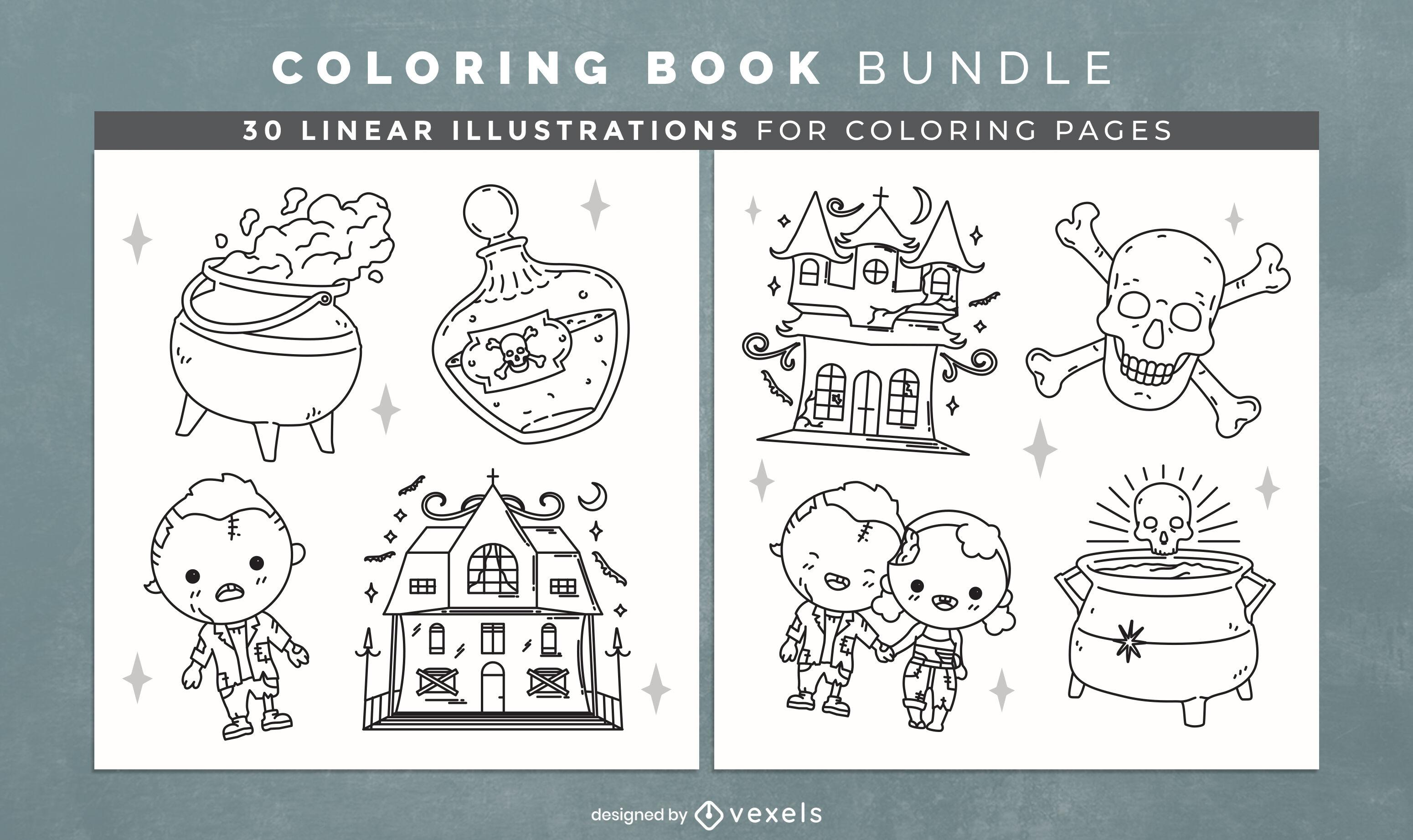 Design de interiores de um lindo livro para colorir de halloween