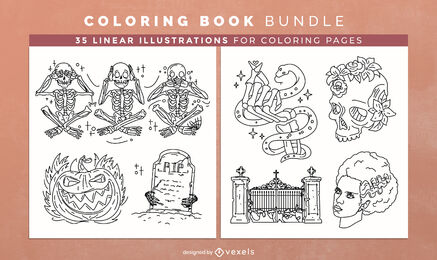 Halloween monsters coloring book design pages
