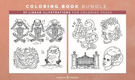 Monstros de Halloween para colorir páginas de design de livros