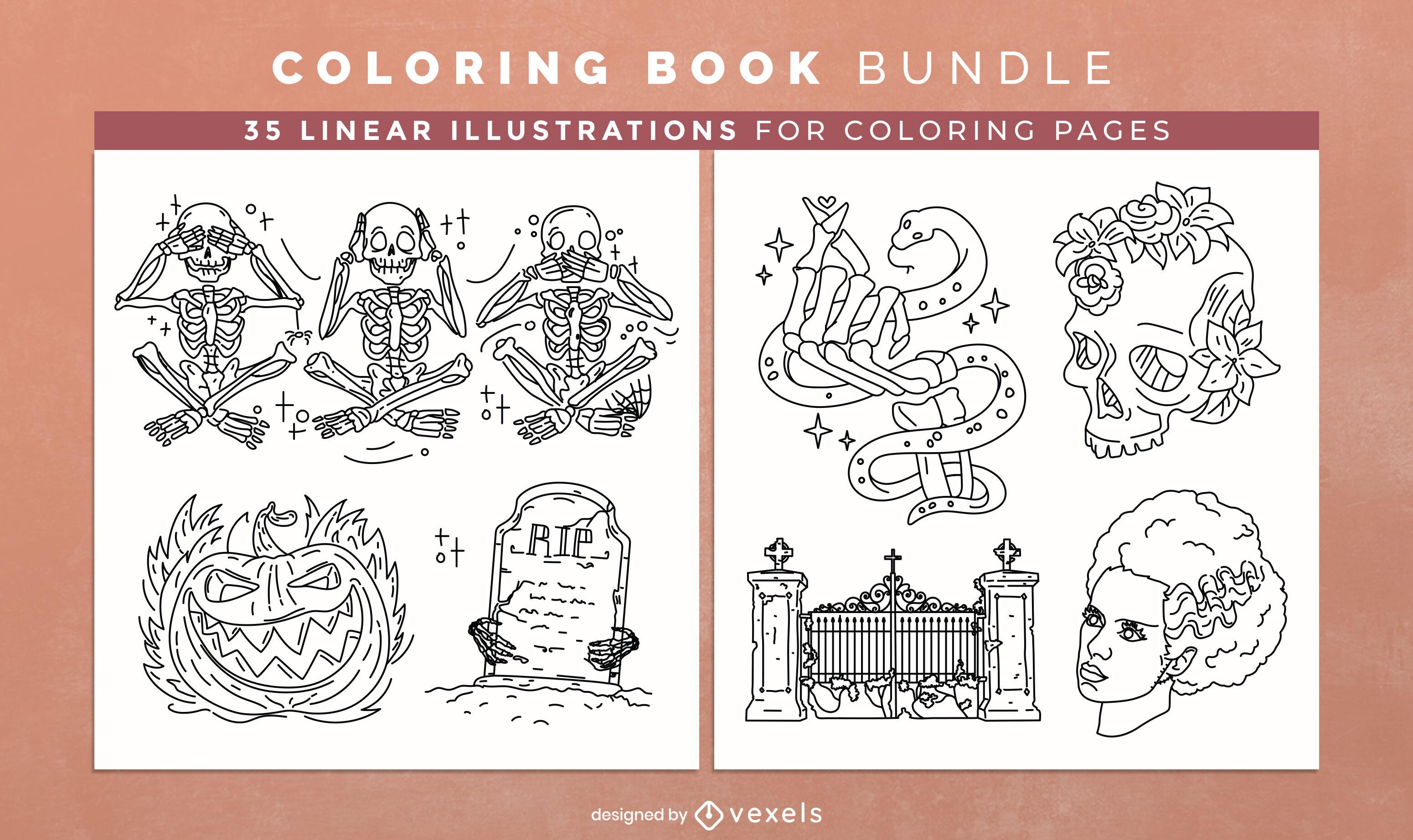 Monstruos de Halloween para colorear páginas de diseño de libros