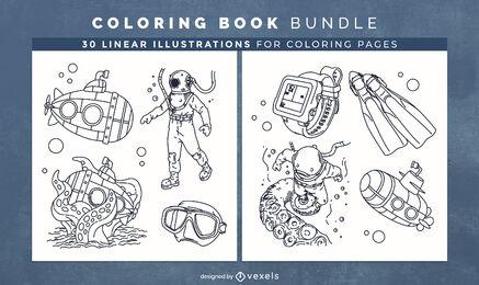 Scuba diving coloring book design pages