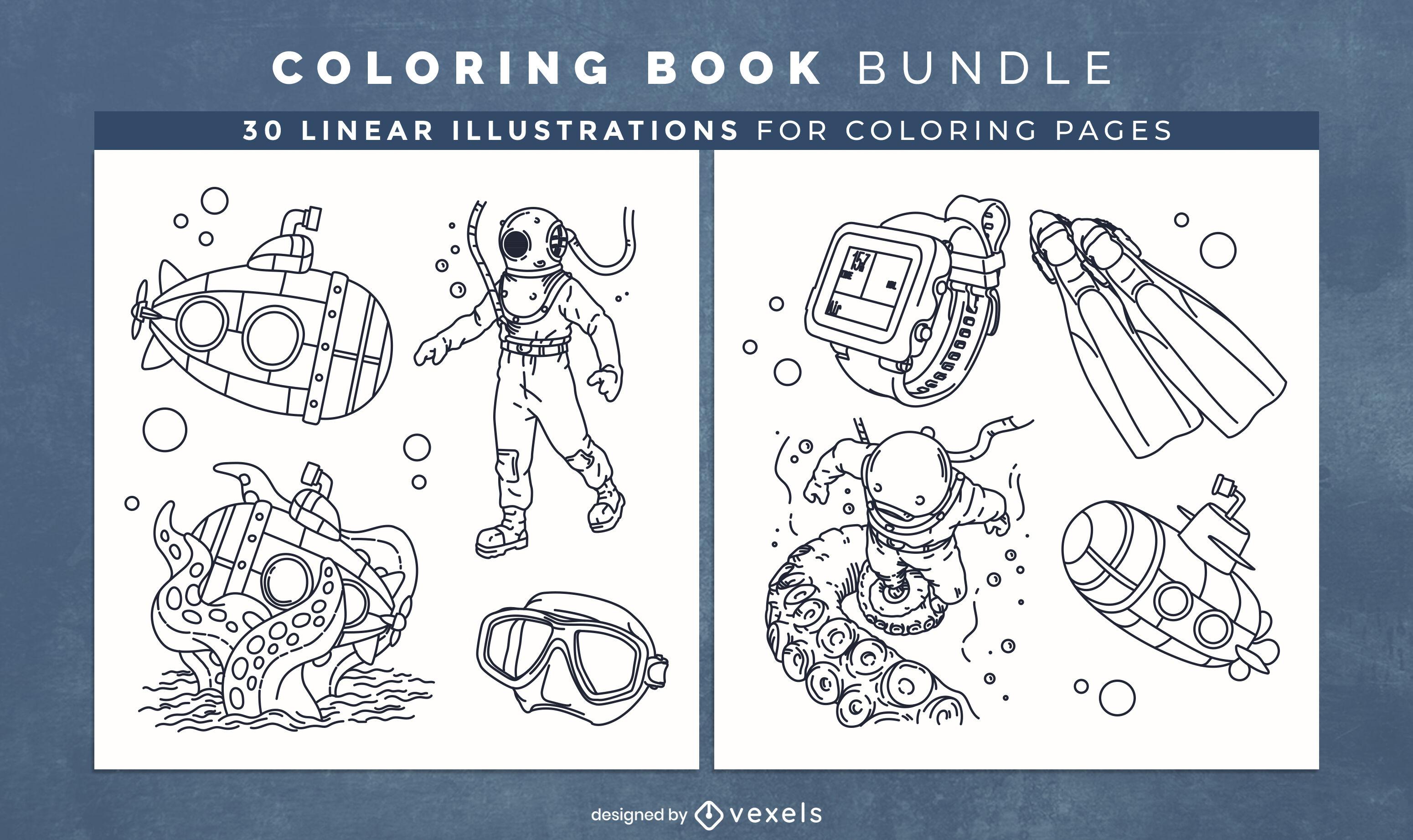 Páginas de design de livro para colorir de mergulho autônomo