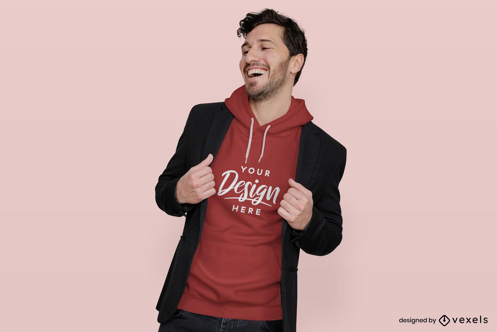 Mann in rotem Hoodie und flachem Hintergrundmodell der Jacke