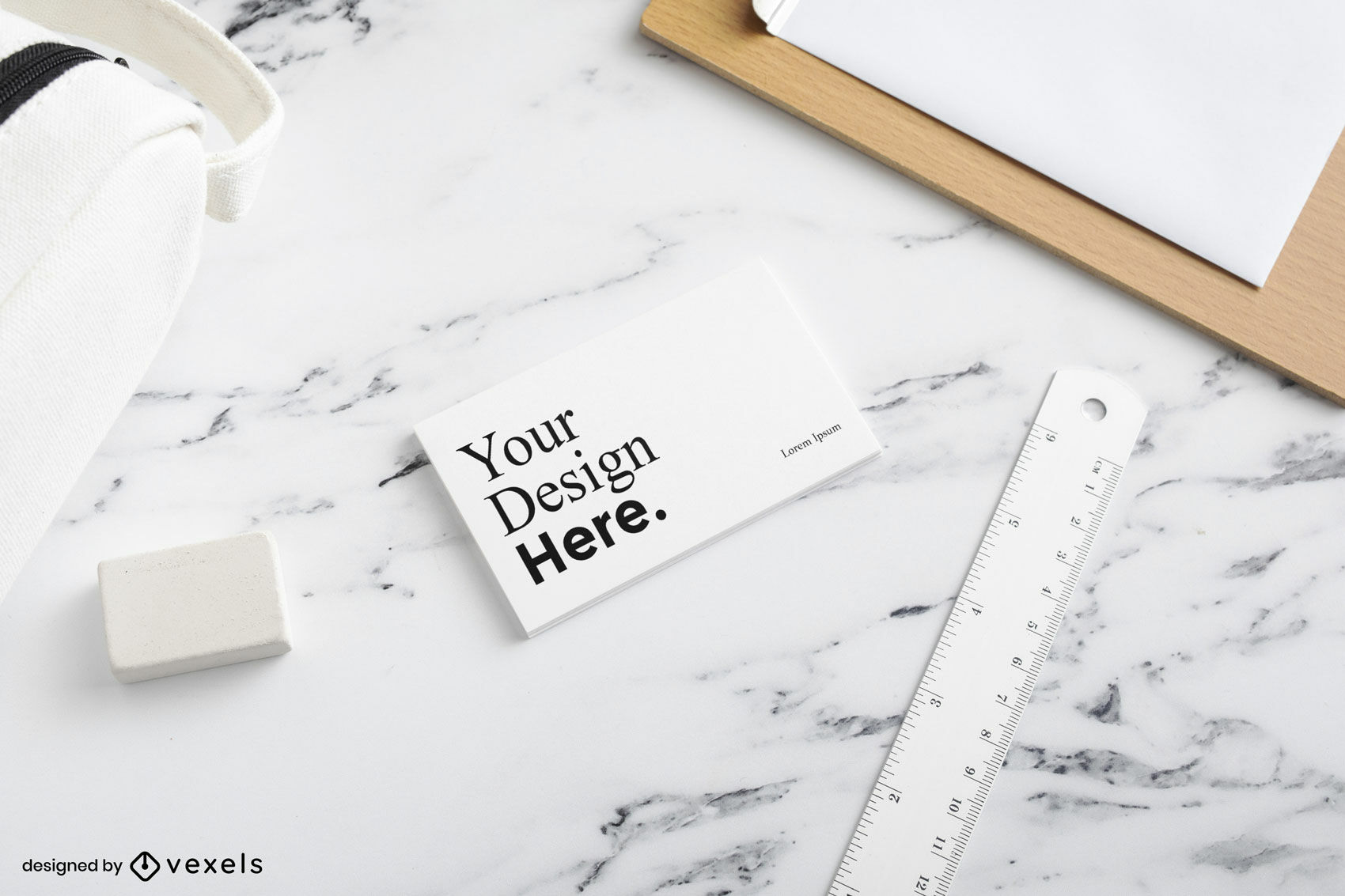 White business card mockup in marble surface
