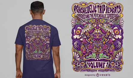 Diseño de camiseta de experiencia de viaje psicodélico.