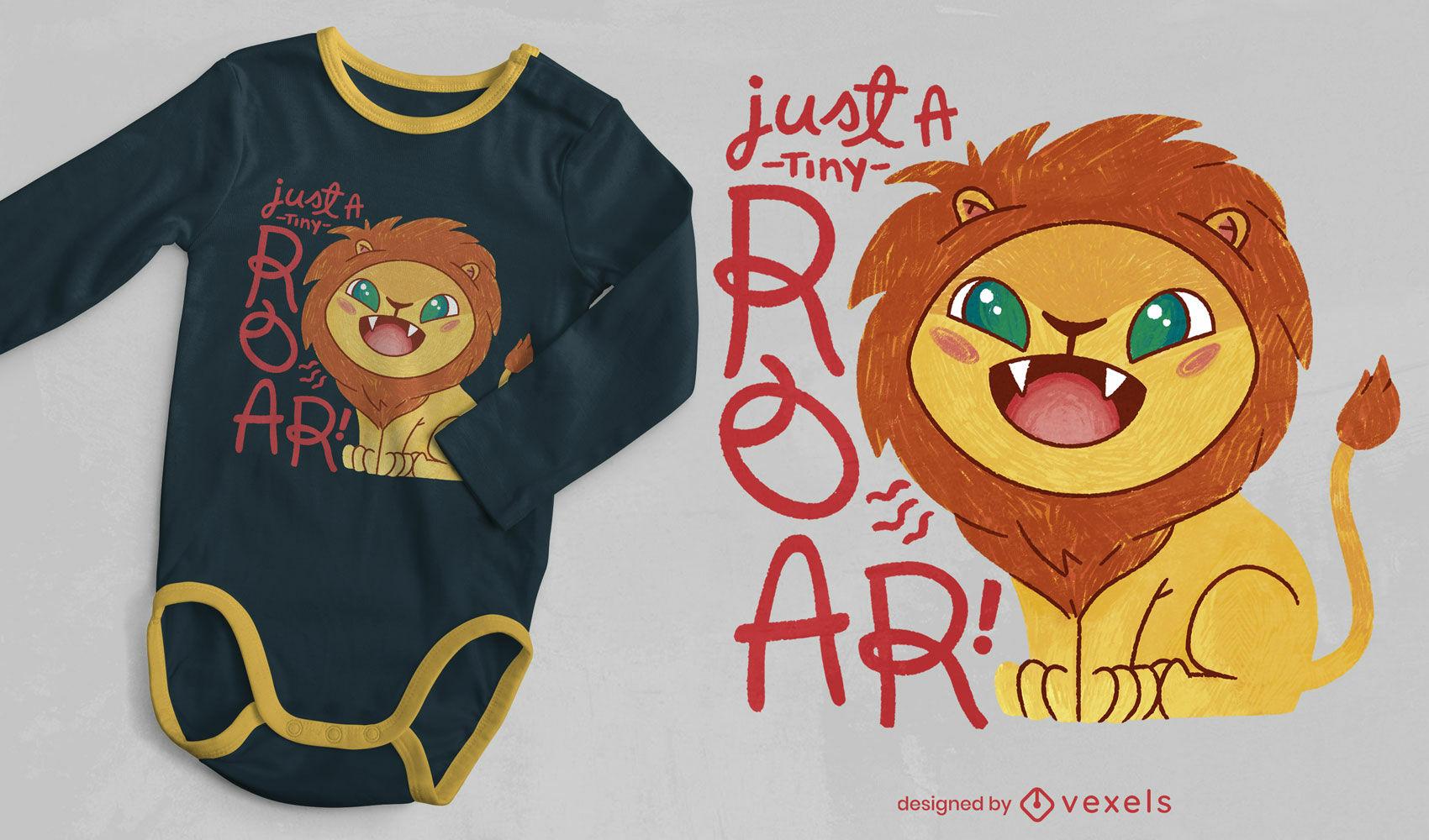 Diseño lindo de la camiseta del psd del bebé del león