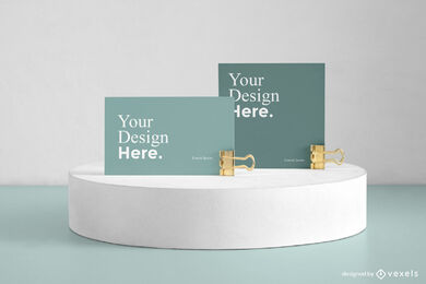 Green business cards in display mockup