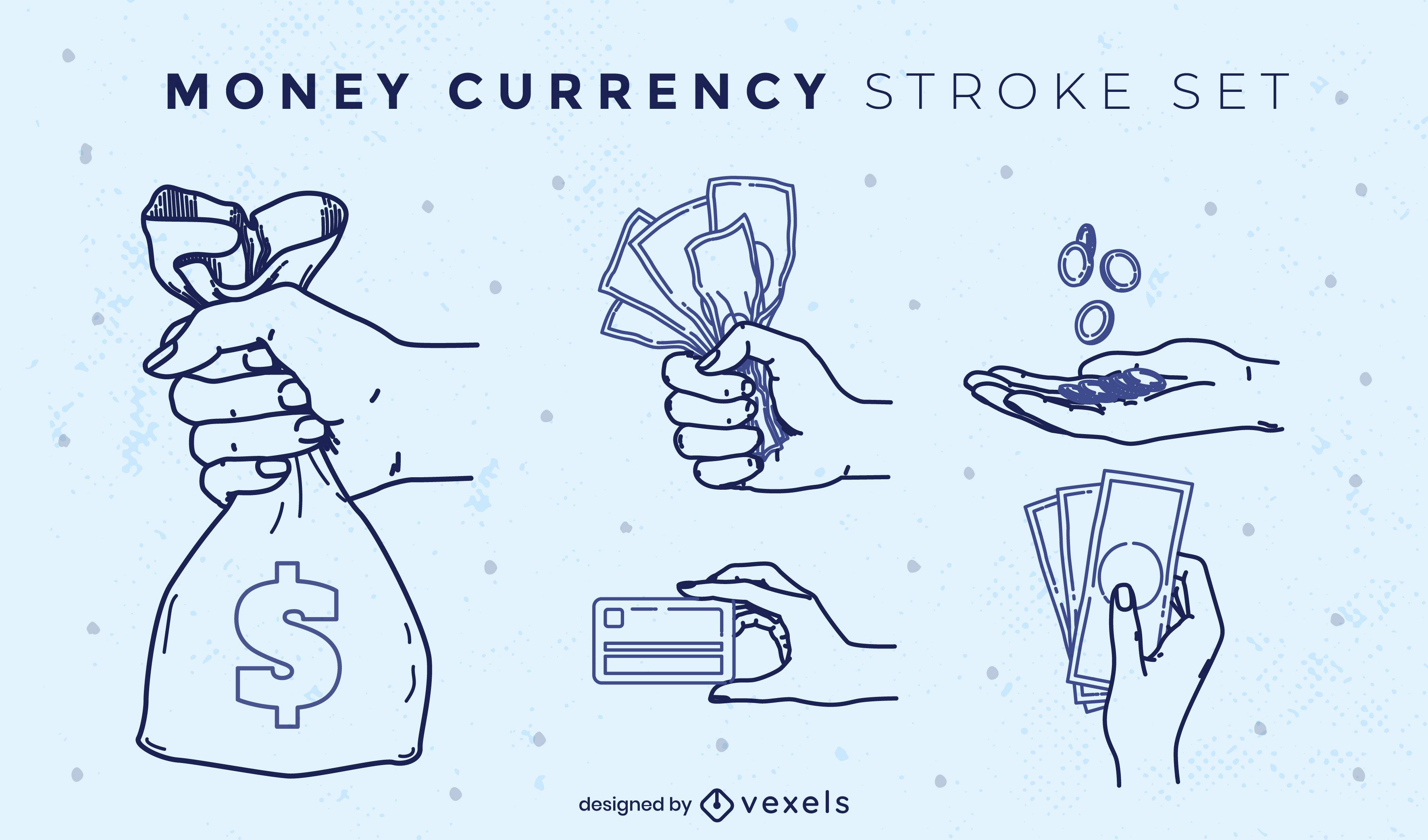 Conjunto de trazos de billetes y monedas de pago de dinero
