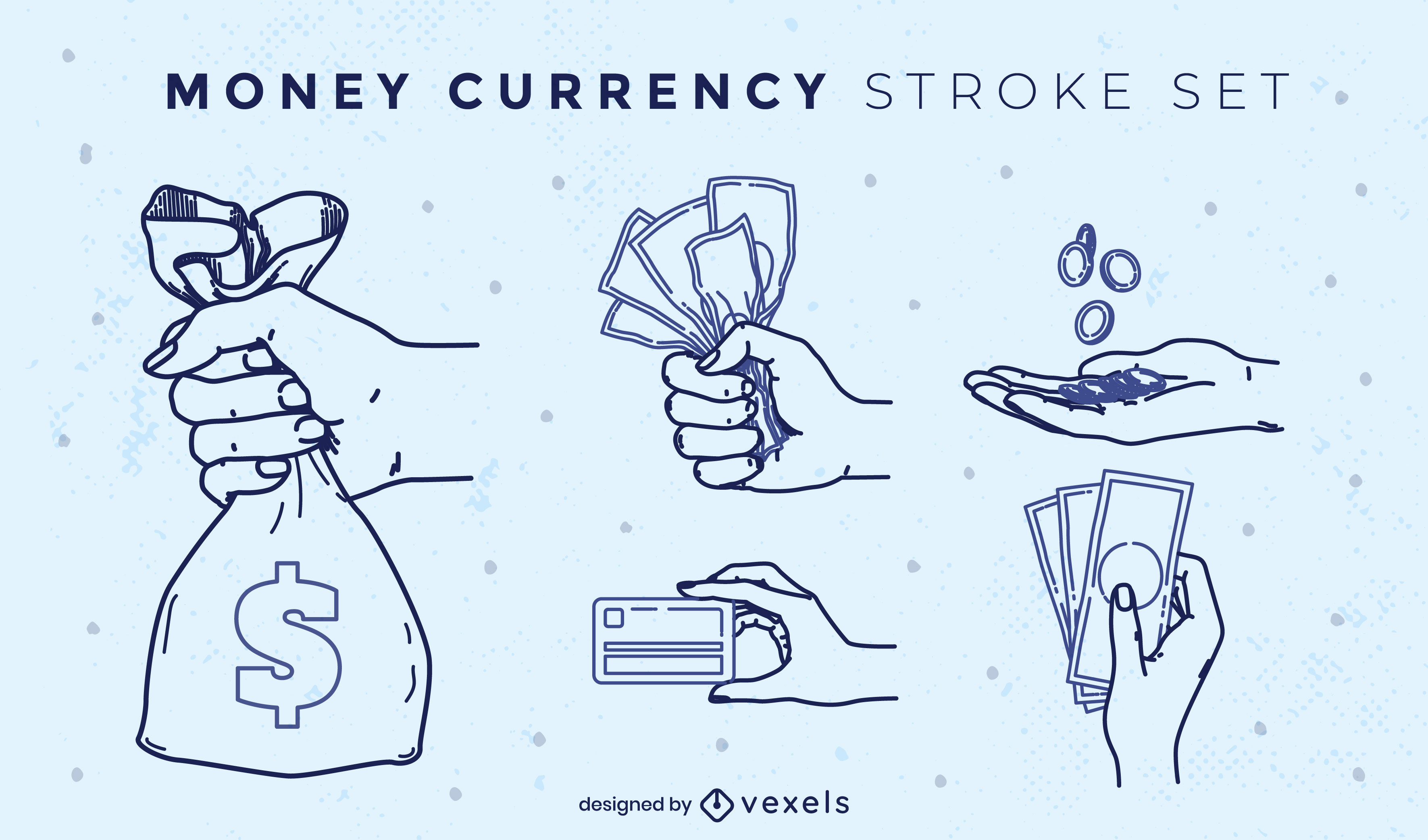 Money payment bills and coins stroke set