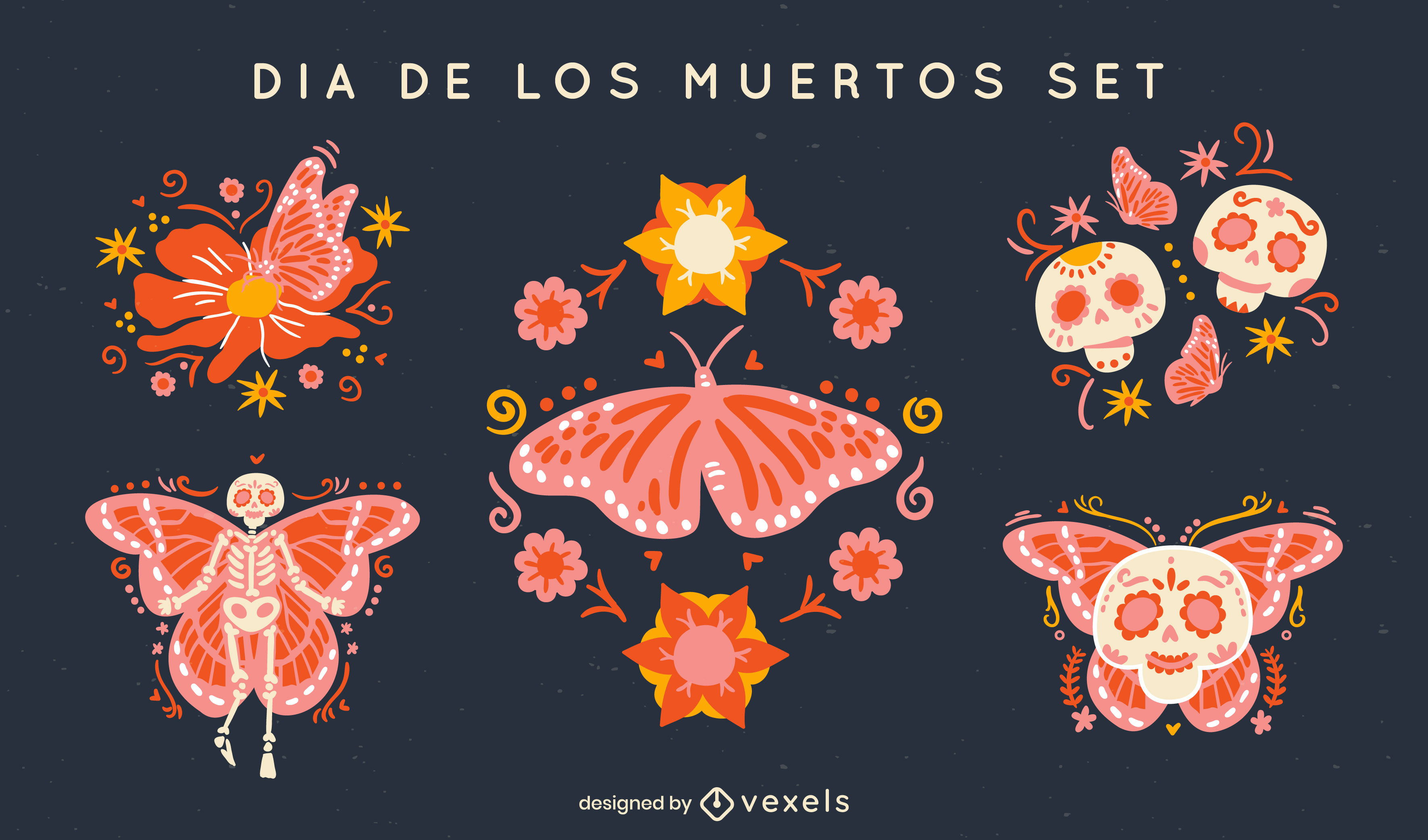 Conjunto de mariposas navideñas del día de los muertos.