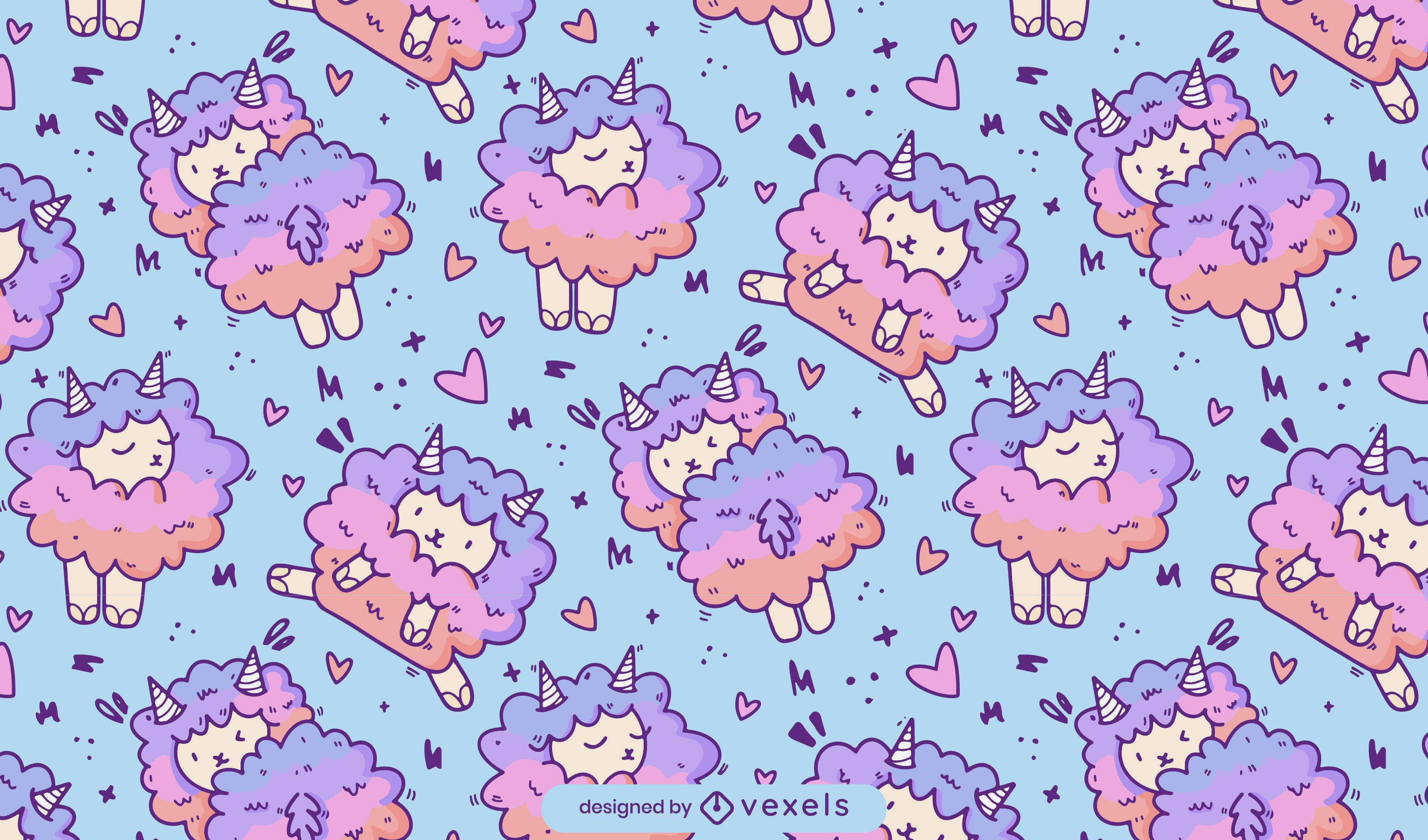 Cute sheep gradient pattern design