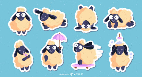 Sheep farm animal cartoon character set