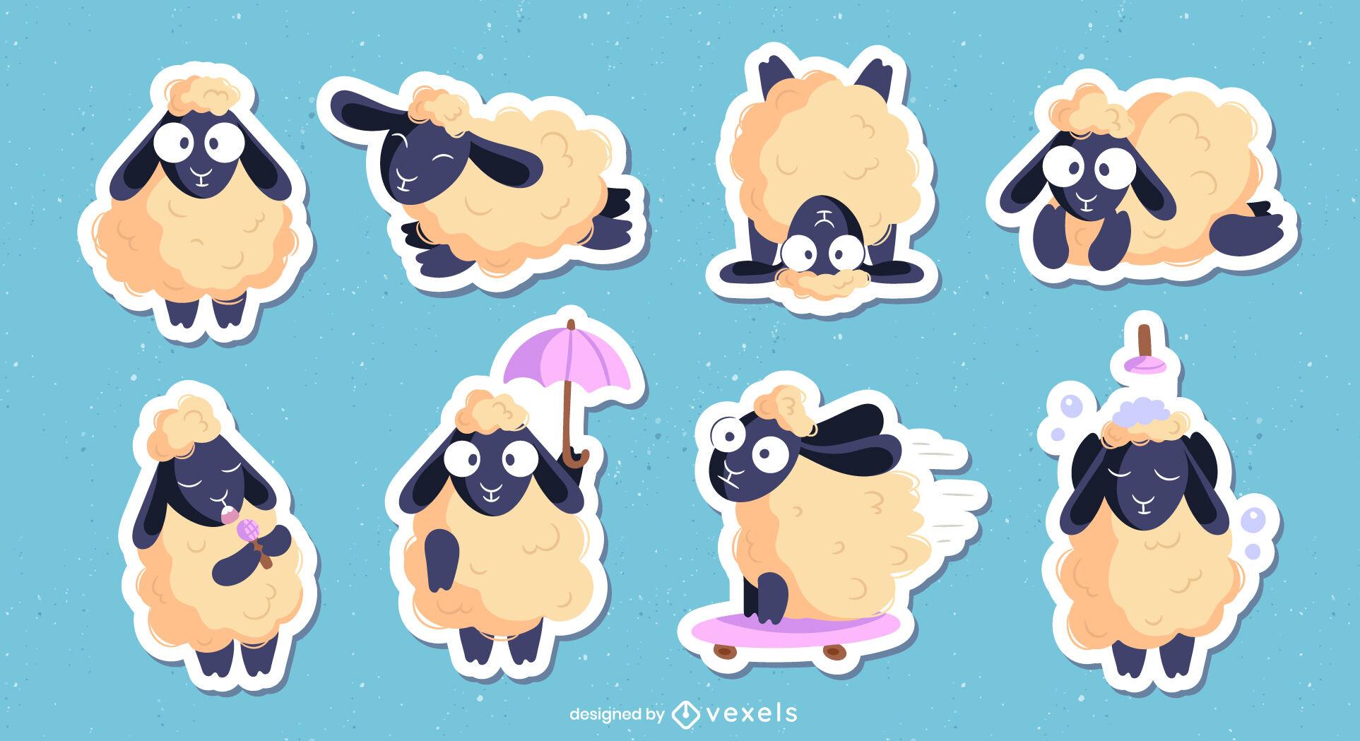 Schaf-Nutztier-Cartoon-Zeichensatz
