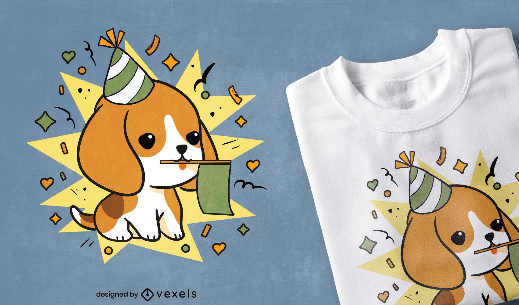 Lindo dise?o de camiseta de perro beagle celebrando