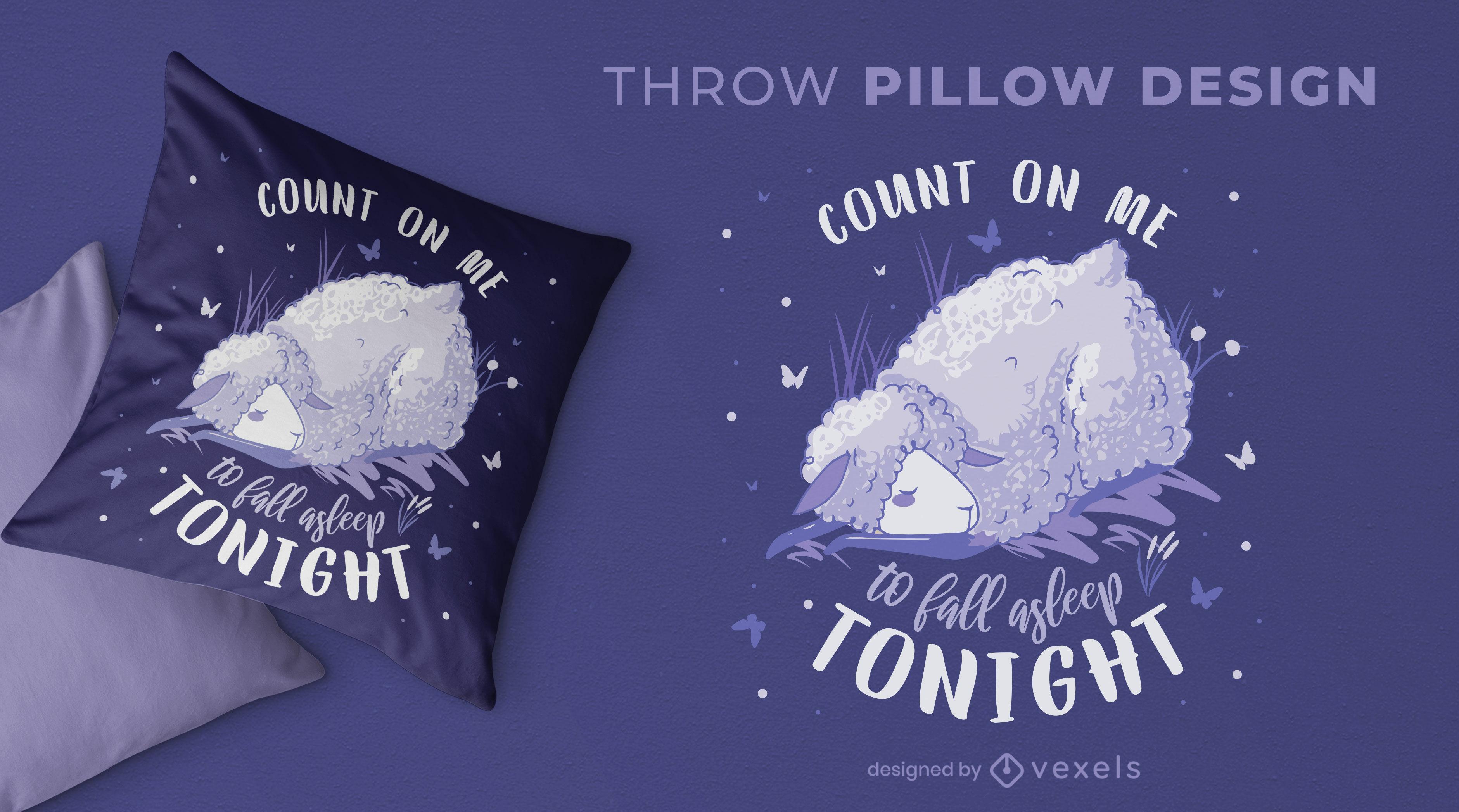 Sleeping sheep animal throw pillow design
