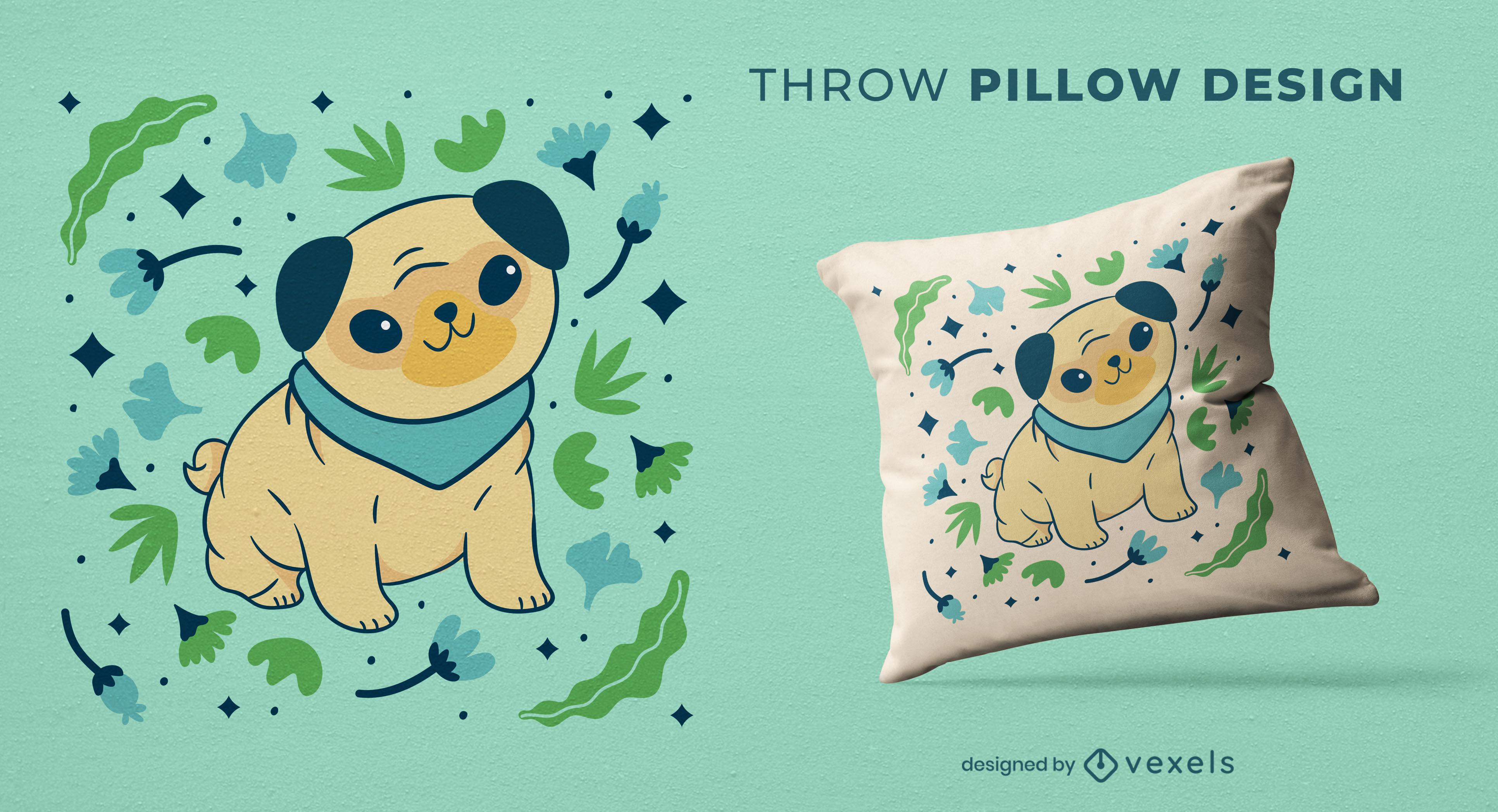 Diseño de almohada de tiro animal lindo perro pug
