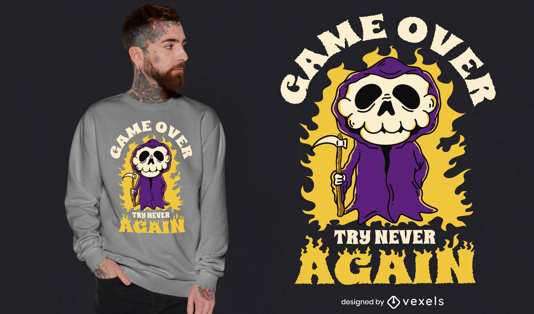 Diseño de camiseta de Game Over Grim Reaper