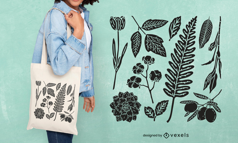 Folhas e flores recortadas com design de sacola