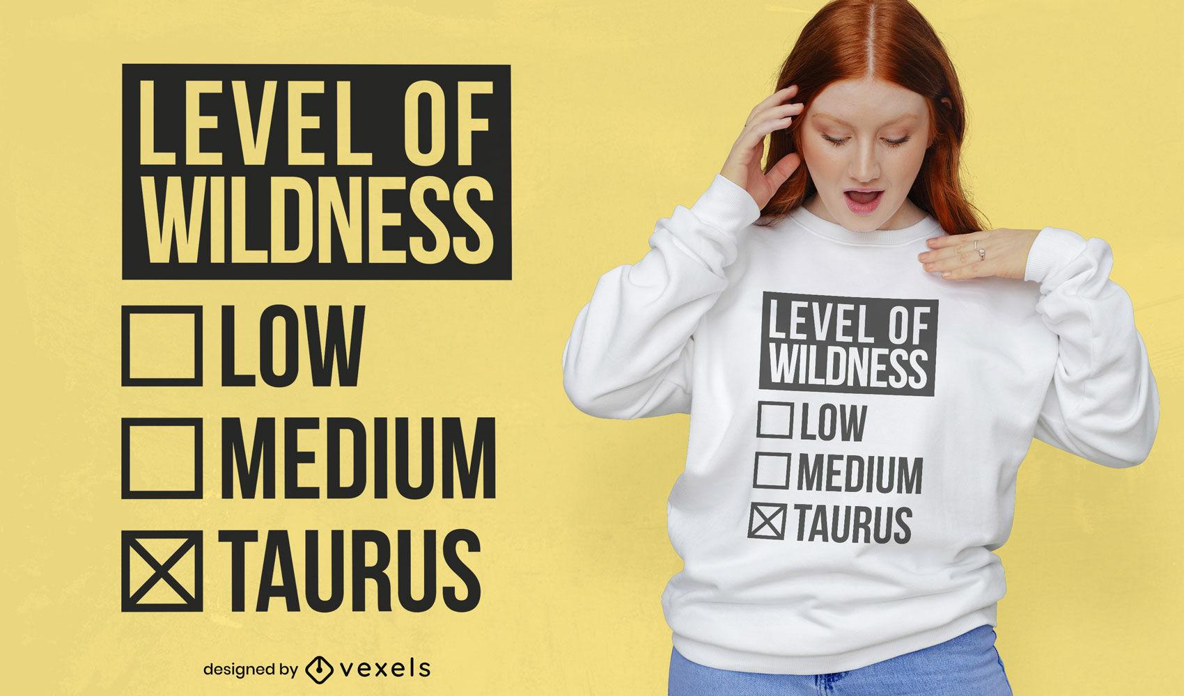 Dise?o de camiseta tauro signo zodicano salvaje