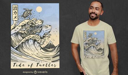 Japanese turtle wave sea t-shirt design