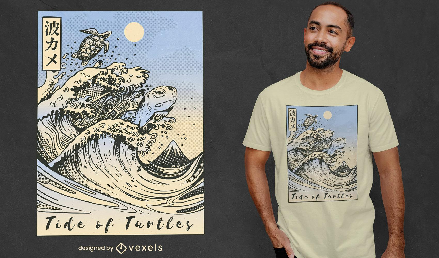 Diseño de camiseta de mar de olas de tortuga japonesa