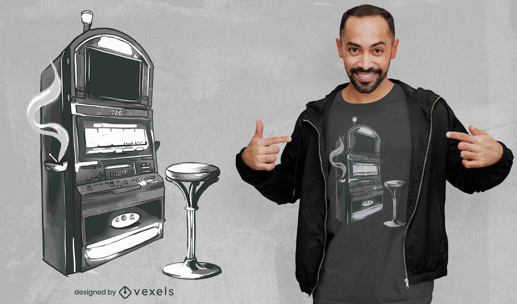 Diseño de camiseta de acuarela de máquina tragamonedas de casino.