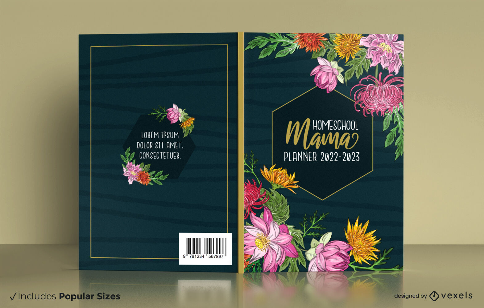 Diseño floral de la cubierta del planificador de educación en el hogar
